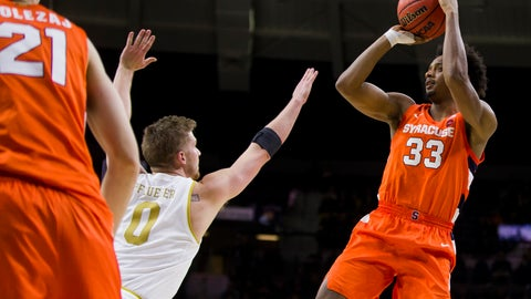 <p>               Syracuse's Elijah Hughes(33) shoots over Notre Dame's Rex Pflueger (0) during the second half of an NCAA college basketball game Wednesday, Jan. 22, 2020, in South Bend, Ind. Syracuse won 84-82. (AP Photo/Robert Franklin)             </p>