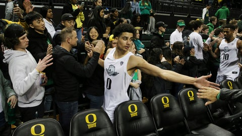 <p>               Oregon's Will Richardson, center, celebrates with fans after helping his team defeat Colorado 68-60 in an NCAA college basketball game in Eugene, Ore., Thursday, Feb. 13, 2020. (AP Photo/Chris Pietsch)             </p>