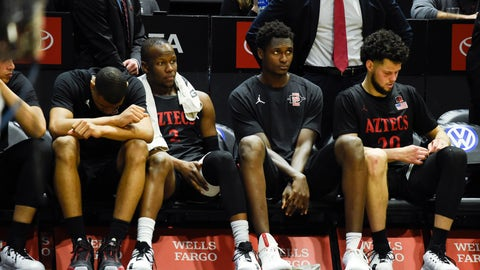 <p>               San Diego State players sit on the bench during the second half of an NCAA college basketball game against UNLV, Saturday, Feb. 22, 2020, in San Diego. UNLV won 66-63. (AP Photo/Denis Poroy)             </p>