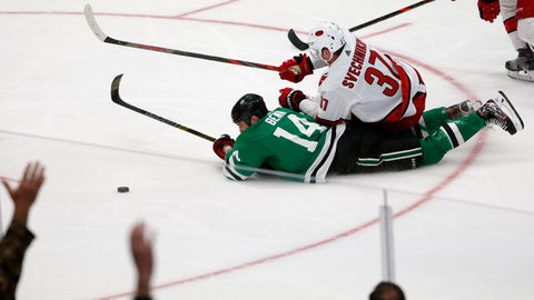 <p>               Carolina Hurricanes right wing Andrei Svechnikov (37) pulls down Dallas Stars left wing Jamie Benn (14)  during the third period of an NHL hockey game in Dallas, Tuesday, Feb. 11, 2020. Dallas defeated Carolina 4-1. (AP Photo/Michael Ainsworth)             </p>