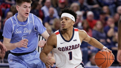<p>               Gonzaga guard Admon Gilder, right, drives while pressured by San Diego guard Finn Sullivan during the second half of an NCAA college basketball game in Spokane, Wash., Thursday, Feb. 27, 2020. Gonzaga won 94-59. (AP Photo/Young Kwak)             </p>
