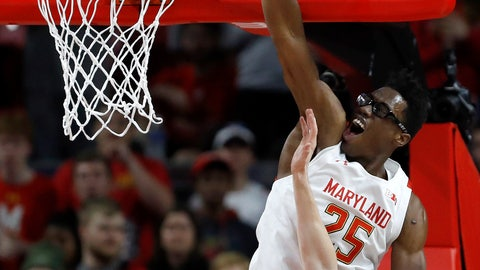<p>               Maryland forward Jalen Smith (25) goes up for a basket against Northwestern forward Robbie Beran during the first half of an NCAA college basketball game, Tuesday, Feb. 18, 2020, in College Park, Md. (AP Photo/Julio Cortez)             </p>