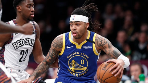 <p>               Golden State Warriors guard D'Angelo Russell (0) drives next to Brooklyn Nets guard Caris LeVert (22) during the first half of an NBA basketball game Wednesday, Feb. 5, 2020, in New York. (AP Photo/Kathy Willens)             </p>