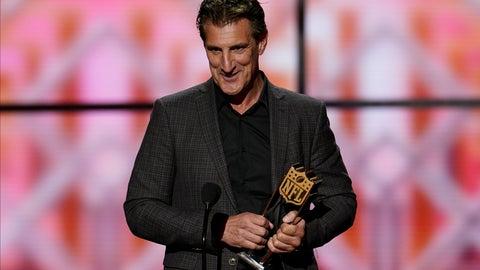 <p>               John Bosa accepts the AP Defensive Player of the Year award for is son San Francisco 49ers' Nick Bosa at the NFL Honors football award show Saturday, Feb. 1, 2020, in Miami. (AP Photo/David J. Phillip)             </p>