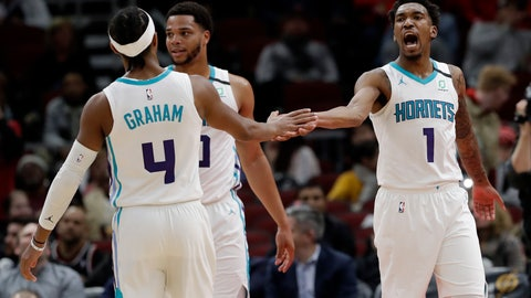 <p>               Charlotte Hornets guard Malik Monk, right, celebrates with guard Devonte' Graham (4) after scoring during the second half of the team's NBA basketball game against the Chicago Bulls in Chicago, Thursday, Feb. 20, 2020. The Hornets won 103-93. (AP Photo/Nam Y. Huh)             </p>