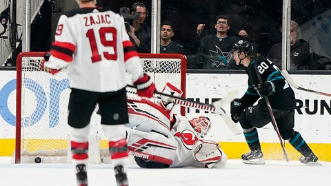 <p>               San Jose Sharks left wing Marcus Sorensen (20) scores a goal past New Jersey Devils goaltender Cory Schneider during the second period of an NHL hockey game Thursday, Feb. 27, 2020, in San Jose, Calif. (AP Photo/Tony Avelar)             </p>