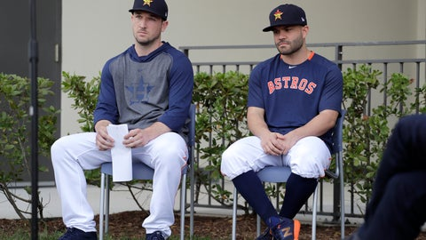 <p>               Houston Astros infielder Alex Bregman, left, and teammate Jose Altuve sit in chairs as the wait to deliver statements during a news conference before the start of the first official spring training baseball practice for the team Thursday, Feb. 13, 2020, in West Palm Beach, Fla. (AP Photo/Jeff Roberson) ;             </p>