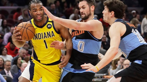 <p>               Indiana Pacers' T.J. Warren (1) drives past Cleveland Cavaliers' Kevin Love (0) and Cleveland Cavaliers' Cedi Osman (16) in the second half of an NBA basketball game, Saturday, Feb. 29, 2020, in Cleveland. Indiana won 113-104. (AP Photo/Tony Dejak)             </p>