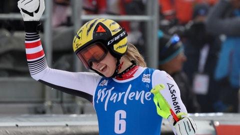 <p>               Austria's Nina Ortlieb celebrates at the finish area of an alpine ski, women's World Cup Super G, in La Thuile, Italy, Saturday, Feb. 29, 2020. (AP Photo/Alessandro Trovati)             </p>