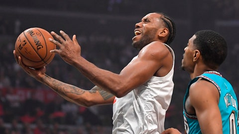 <p>               Los Angeles Clippers forward Kawhi Leonard, left, shoots as Memphis Grizzlies guard De'Anthony Melton defends during the first half of an NBA basketball game Monday, Feb. 24, 2020, in Los Angeles. (AP Photo/Mark J. Terrill)             </p>