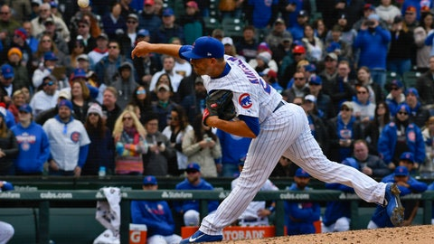 <p>               FILE - In this April 12, 2019, file photo, Chicago Cubs relief pitcher Brandon Kintzler delivers during the ninth inning of a baseball game against the Los Angeles Angels in Chicago. Kinztler and the Miami Marlins have finalized a one-year contract that guarantees $3,275,000. (AP Photo/Matt Marton, File)             </p>
