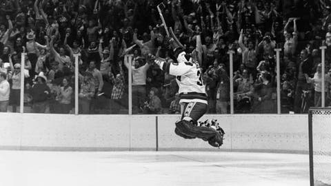 <p>               FILE - In this Feb. 22, 1980, file photo, U.S. goalie James Craig leaps high in the air in the final second of a 4-3 win over the Soviet Union in a medal match at the 1980 Winter Olympics in Lake Placid, N.Y.  (AP Photo/File)             </p>