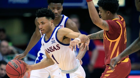 <p>               Kansas guard Devon Dotson (1) steals the ball from Iowa State guard Prentiss Nixon (11) during the first half of an NCAA college basketball game in Lawrence, Kan., Monday, Feb. 17, 2020. (AP Photo/Orlin Wagner)             </p>