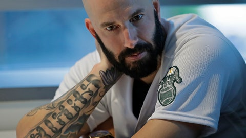 <p>               Oakland Athletics pitcher Mike Fiers ponders a question during an interview with the media on Friday, Jan. 24, 2020, in Oakland, Calif. Fiers, the Oakland pitcher and whistleblower in the Houston Astros sign-stealing scandal, appeared with teammates and manager Bob Melvin at team offices. Fiers has not spoken publicly about the sign stealing since the story was published in The Athletic in November. (AP Photo/Ben Margot)             </p>