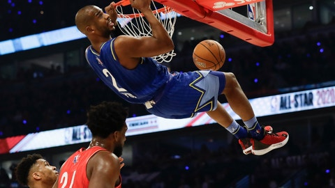 <p>               Chris Paul of the Oklahoma City Thunder dunks during the first half of the NBA All-Star basketball game Sunday, Feb. 16, 2020, in Chicago. (AP Photo/Nam Huh)             </p>