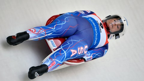 <p>               Emily Sweeney of United States speeds down the track during a women's race at the Luge World Cup event in Sigulda, Latvia, Saturday, Jan. 25, 2020. (AP Photo/Roman Koksarov)             </p>