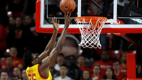 <p>               Maryland forward Jalen Smith goes up for a basket against Nebraska during the first half of an NCAA college basketball game, Tuesday, Feb. 11, 2020, in College Park, Md. (AP Photo/Julio Cortez)             </p>
