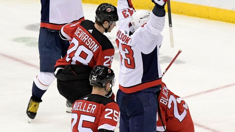 <p>               Washington Capitals right wing Tom Wilson (43) celebrates his goal with left wing Alex Ovechkin (8) as New Jersey Devils defenseman Damon Severson (28) and defenseman Mirco Mueller (25) react during the second period of an NHL hockey game Saturday, Feb. 22, 2020, in Newark, N.J. (AP Photo/Bill Kostroun)             </p>
