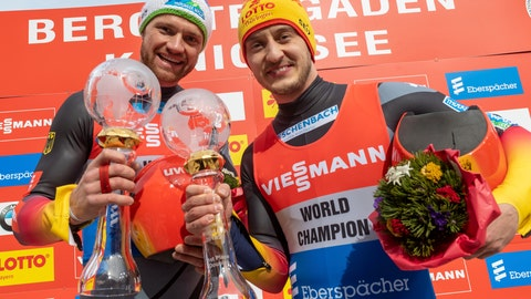 <p>               Germany's Toni Eggert, left, and Sascha Benecken celebrate with their trophies during the men's luge  World Cup in Koenigssee, Germany, Saturday, Feb. 29, 2020. (Peter Kneffel/dpa via AP)             </p>