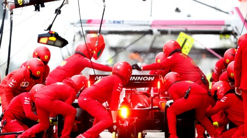 <p>               Pit crew work on the car of Ferrari driver Charles Leclerc of Monaco as he pulls into the pits during the Formula One pre-season testing session at the Barcelona Catalunya racetrack in Montmelo, outside Barcelona, Spain, Friday, Feb. 28, 2020. (AP Photo/Joan Monfort)             </p>