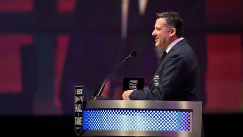 <p>               Tony Stewart talks about his career as a driver and team owner during the NASCAR Hall of Fame induction ceremony in Charlotte, N.C., Friday, Jan. 31, 2020. (AP Photo/Mike McCarn)             </p>