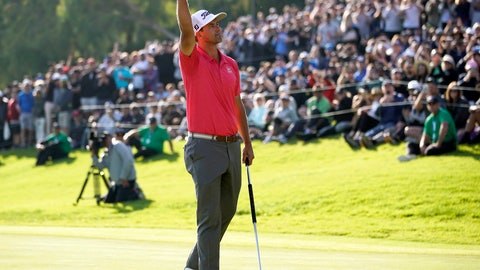 <p>               Adam Scott, of Australia, reacts after finishing the Genesis Invitational golf tournament at Riviera Country Club, Sunday, Feb. 16, 2020, in the Pacific Palisades area of Los Angeles. Scott won the tourney.(AP Photo/Ryan Kang)             </p>