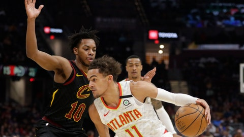 <p>               Atlanta Hawks' Trae Young (11) drives past Cleveland Cavaliers' Darius Garland (10) in the second half of an NBA basketball game, Wednesday, Feb. 12, 2020, in Cleveland. The Cavaliers won 127-105. (AP Photo/Tony Dejak)             </p>