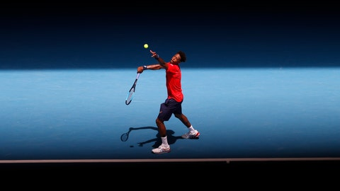 <p>               France's Gael Monfils serves to Austria's Dominic Thiem during their fourth round singles match at the Australian Open tennis championship in Melbourne, Australia, Monday, Jan. 27, 2020. (AP Photo/Andy Wong)             </p>