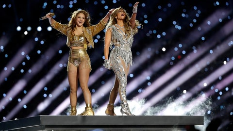 <p>               Shakira and Jennifer Lopez perform during halftime of the NFL Super Bowl 54 football game between the Kansas City Chiefs and the San Francisco 49ers Sunday, Feb. 2, 2020, in Miami Gardens, Fla. (AP Photo/Seth Wenig)             </p>