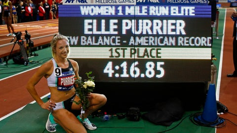 <p>               Elle Purrier after winning the NYRR Wanamaker Mile set a new American Record at the Millrose Games track and field meet Saturday, Feb. 8, 2020, in New York. (AP Photo/Adam Hunger)             </p>