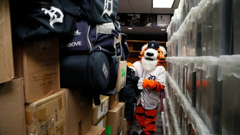 <p>               Paws, the Detroit Tigers mascot, helps load equipment at Comerica Park in Detroit, Monday, Feb. 3, 2020 in preparation for the move to Lakeland, Fla., for the opening of spring training. (AP Photo/Carlos Osorio)             </p>