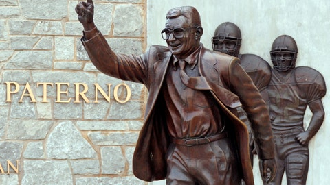 """<p>               File-This July 12, 2020, shows the statue of former Penn State University head football coach Joe Paterno outside Beaver Stadium. Though the statue has been taken down, Penn State and the family of Paterno announced Friday, Feb. 21, 2020, they had resolved """"the outstanding issues"""" that divided them, eight years after he was fired after Jerry Sandusky's child molestation arrest. The university and Paterno's widow, Sue Paterno, both issued statements that Penn State had agreed to pay """"certain of the Paterno family's expenses"""" and wished to move forward. The amount was not disclosed. (AP Photo/Gene J. Puskar, File)             </p>"""