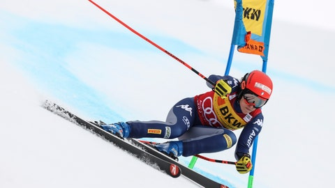 <p>               Italy's Federica Brignone speeds down the course during the super-G portion of an alpine ski, women's World Cup alpine combined, in Crans Montana, Switzerland, Sunday, Feb. 23, 2020. (AP Photo/Alessandro Trovati)             </p>