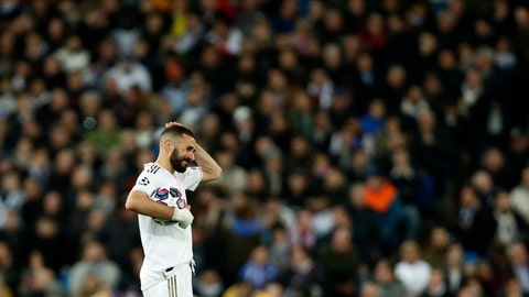 <p>               Real Madrid's Karim Benzema reacts during the Champions League, round of 16, first leg soccer match between Real Madrid and Manchester City at the Santiago Bernabeu stadium in Madrid, Spain, Wednesday, Feb. 26, 2020. (AP Photo/Manu Fernandez)             </p>