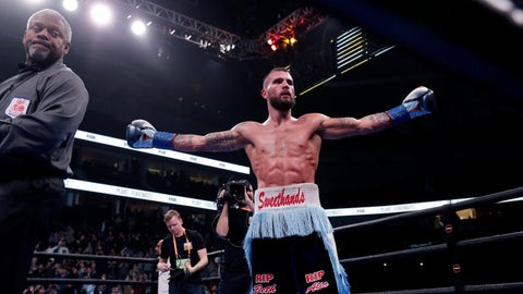 <p>               Caleb Plant celebrates after defeating Vincent Feigenbutz, of Germany, in the IBF super middleweight championship boxing match Saturday, Feb. 15, 2020, in Nashville, Tenn. (AP Photo/Mark Humphrey)             </p>
