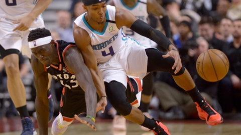 <p>               Toronto Raptors forward Pascal Siakam (43) and Charlotte Hornets guard Devonte' Graham (4) vie for control of the ball during second-half NBA basketball game action in Toronto, Friday, Feb. 28, 2020. (Nathan Denette/The Canadian Press via AP)             </p>