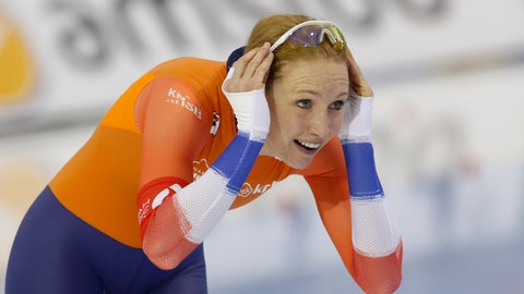 <p>               Carlijn Achtereekte, of the Netherlands, reacts after competing during the women's 3,000 meters at the world single distances speedskating championships Thursday, Feb. 13, 2020, in Kearns, Utah. (AP Photo/Rick Bowmer)             </p>
