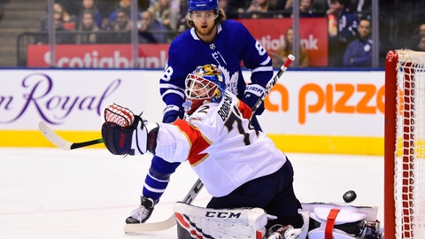 <p>               Toronto Maple Leafs right wing William Nylander (88) watches the puck get past Florida Panthers goaltender Sergei Bobrovsky (72) during the second period of an NHL hockey game, Monday, Feb. 3, 2020 in Toronto. (Frank Gunn/The Canadian Press via AP)             </p>