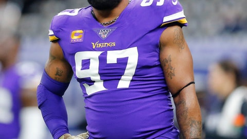 <p>               FILE - In this Jan. 5, 2020, file photo, Minnesota Vikings defensive end Everson Griffen (97) warms up before an NFL wild-card playoff football game against the New Orleans Saints in New Orleans. Vikings defensive end Everson Griffen will become a free agent for the first time in his 11-year career. He's coming off a bounce-back season for the longest-tenured player on the team. Griffen has chosen to exercise his option to void the remaining three years on his contract, a person with knowledge of the decision confirmed to The Associated Press. (AP Photo/Brett Duke, File)             </p>