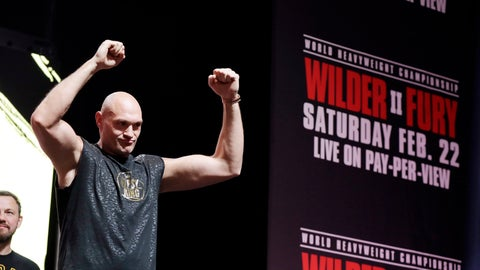 <p>               Tyson Fury, of England, attends a weigh-in for his WBC heavyweight championship boxing match against Deontay Wilder, Friday, Feb. 21, 2020, in Las Vegas. (AP Photo/Isaac Brekken)             </p>