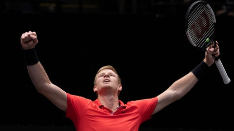 <p>               Kyle Edmund, of Britain, reacts after defeating Andreas Seppi, of Italy, in the finals of the New York Open tennis tournament, Sunday, Feb. 16, 2020, in Uniondale, N.Y. (AP Photo/Mark Lennihan)             </p>