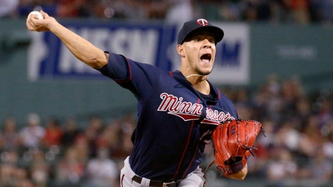 <p>               FILE - In this Sept. 4, 2019, file photo, Minnesota Twins starting pitcher Jose Berrios throws during the first inning of the team's baseball game against the Boston Red Sox, in Boston. Berrios is still without a long-term contract, but the Twins continue to build their rotation around the two-time All-Star. (AP Photo/Mary Schwalm, File)             </p>