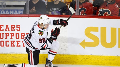 <p>               Chicago Blackhawks left wing Alex Nylander (92) celebrates his goal against the Calgary Flames during the second period of an NHL hockey game Saturday, Feb. 15, 2020, in Calgary, Alberta. (Larry MacDougal/The Canadian Press via AP)             </p>
