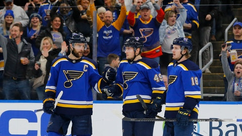 <p>               St. Louis Blues' Ivan Barbashev, middle, of Russia, is congratulated by Alex Pietrangelo, left, and Robert Thomas after scoring a goal against the New Jersey Devils during the second period of an NHL hockey game Tuesday, Feb. 18, 2020, in St. Louis. (AP Photo/Billy Hurst)             </p>