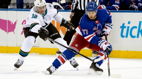 <p>               New York Rangers defenseman Tony DeAngelo (77) skates against San Jose Sharks left wing Patrick Marleau (12) during the first period of an NHL hockey game, Saturday, Feb. 22, 2020, at Madison Square Garden in New York. (AP Photo/Mary Altaffer)             </p>