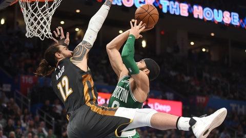 <p>               Boston Celtics forward Jayson Tatum (0) goes up for a shot over Oklahoma City Thunder center Steven Adams (12) in the second half of an NBA basketball game, Sunday, Feb. 9, 2020, in Oklahoma City. (AP Photo/Kyle Phillips)             </p>