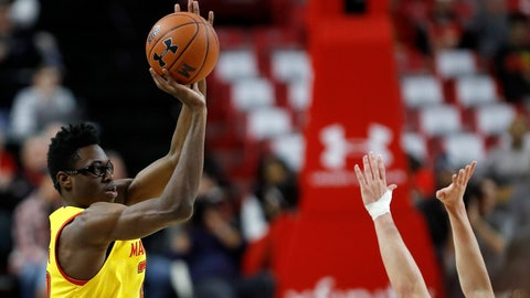 <p>               Maryland forward Jalen Smith shoots a basket as Nebraska guard Thorir Thorbjarnarson defends during the first half of an NCAA college basketball game, Tuesday, Feb. 11, 2020, in College Park, Md. (AP Photo/Julio Cortez)             </p>