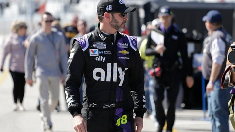 <p>               Jimmie Johnson walks through the garage area during a NASCAR auto race practice at Daytona International Speedway, Saturday, Feb. 8, 2020, in Daytona Beach, Fla. (AP Photo/Terry Renna)             </p>