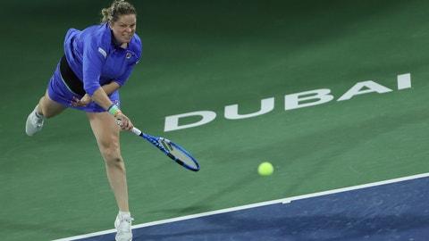 <p>               Belgium's Kim Clijsters serves to Spain's Gabrine Muguruza during a match of the Dubai Duty Free Tennis Championship in Dubai, United Arab Emirates, Monday, Feb. 17, 2020. (AP Photo/Kamran Jebreili)             </p>