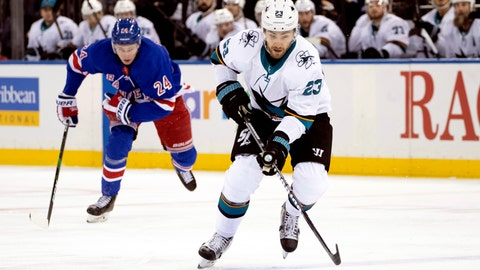 <p>               San Jose Sharks right wing Barclay Goodrow (23) controls the puck ahead of New York Rangers right wing Kaapo Kakko (24) during the first period of an NHL hockey game, Saturday, Feb. 22, 2020, at Madison Square Garden in New York. (AP Photo/Mary Altaffer)             </p>